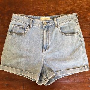 Pacsun Amber Blue High-Rise Denim Mom Shorts 30